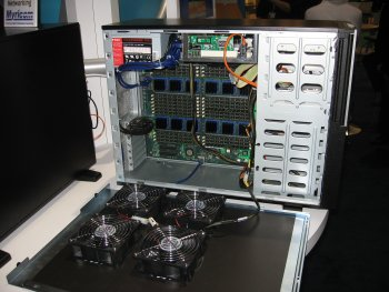 Figure One: View of the inside of SiCortex SC072 Workstation